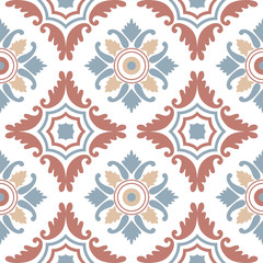 Portuguese tiles, seamless pattern. Vintage background - Victorian ceramic tile in vector