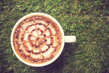 Latte Art coffee vintage color