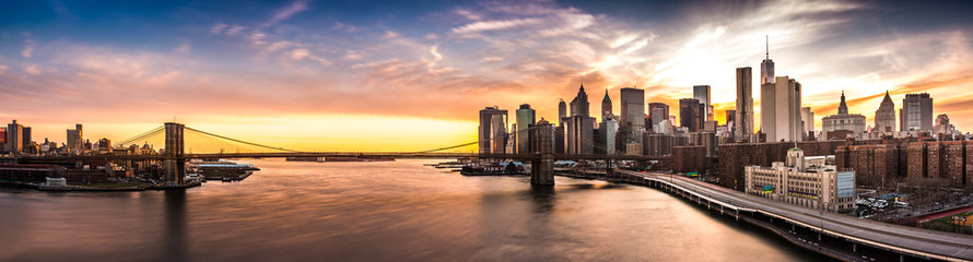 Acrylic Prints New York City Brooklyn Bridge panorama at sunset