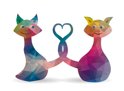 low poly love cats