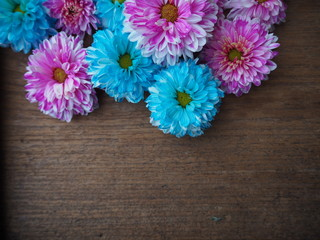 abstract flower texture on old wooden background