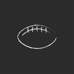 Rugby football ball icon drawn in chalk.