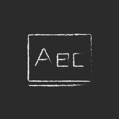 Letters abc on the blackboard icon drawn in chalk.