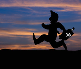Cartoon Business silhouette concept,Businessman running on the w
