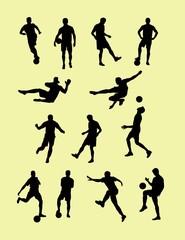 Soccer football player silhouettes, art vector design