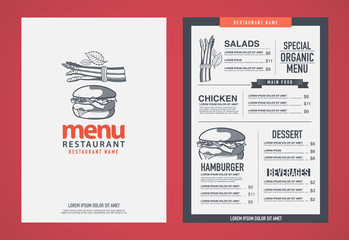 Hipster restaurant menu design.