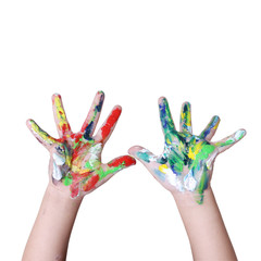 hands in colorful paint with clipping path on white backgroung