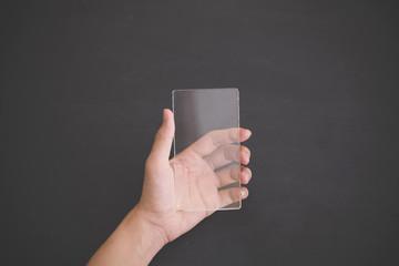 futuristic transparent cell phone mock up