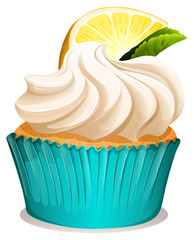 Cupcake with cream and lemon