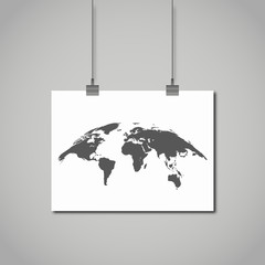 curved map of the world drawn on paper hanging