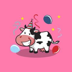 Happy Cow Cartoon in Party Vector