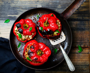 the sweet pepper stuffed with lamb and pearl barley