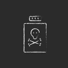 Bottle of poison icon drawn in chalk.