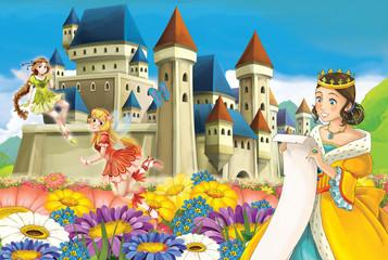 Cartoon medieval fairy tale scene - beautiful manga girl - illustration for children