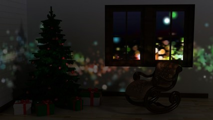 Marry Christmas and Happy New Year postcard, christmas card, background in idyllic home atmosphere.