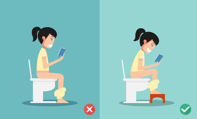 unhealthy vs healthy positions for defecate