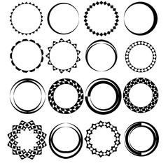 A set of sixteen round frames. Geometric patterns.