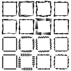 A set of sixteen rectangular framework.