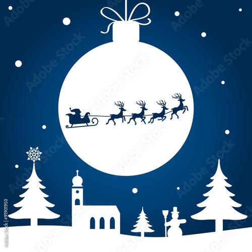 silhouette blau christbaumkugel mit weihnachtsmann und. Black Bedroom Furniture Sets. Home Design Ideas