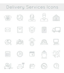 Set of modern flat thin line vector icons of delivery service, logistic business, shipping and transportation. Linear conceptual symbols for interface design of website. Isolated on white