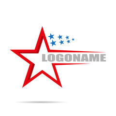 On white background Logo company with stars, flat design