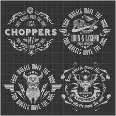 Vintage motorcycle labels, badges and design elements on dark