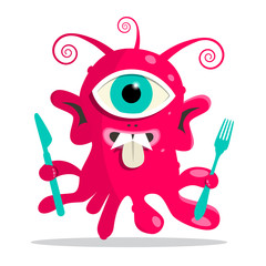 Alien - Monster or Bacillus Vector Illustration with Fork and Knife