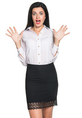 Business woman surprised
