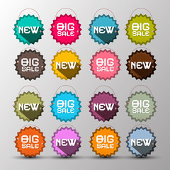 Colorful Vector New - Big Sale Vector Labels - Paper with String Tags Set