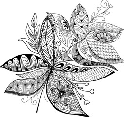 Hand  drawn, stylized, vector of feather on a white background.