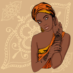 portrait of pretty african etnic Girl in traditional turban, with henna tatoo mehendy on her hand. vector. copy spase.
