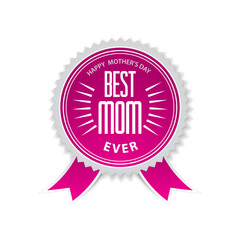 The best mom badge with pink ribbon for mothers day.