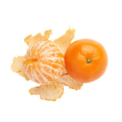 Served juicy tangerine fruit composition isolated over the white
