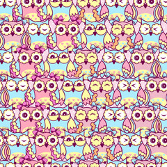 Seamless pattern of pink owls on a pink background