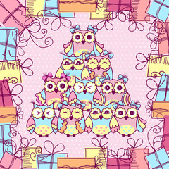 Beautiful pattern postcard with owls and gifts on pink background