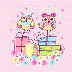 Photo sur Plexiglas Hibou Beautiful pattern postcard with owls and gifts on pink background