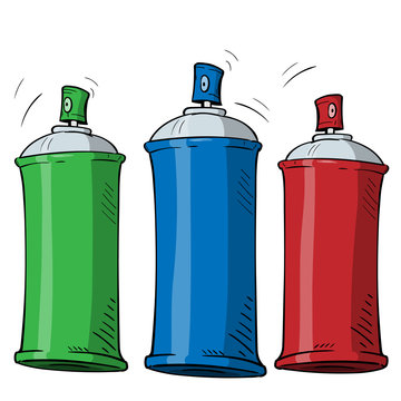 cartoon spray can in three different color on white background. Wector graphics.