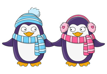 Cute penguins isolated on white