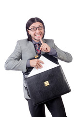 Young businessman in gray suit holding briefcase isolated on