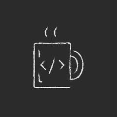 Cup of coffee with a code sign icon drawn in chalk.