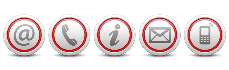 Contact Us – Set of light gray buttons with reflection & red