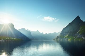 Garden Poster Scandinavia sunset in Lofoten islands, Norway