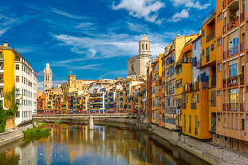 Colorful houses in Girona, Catalonia, Spain Wall mural