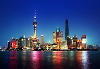 Aluminium Prints Shanghai Shanghai at night, China