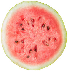 Half of red watermelon, close texture or background (natural colors) isolated on white