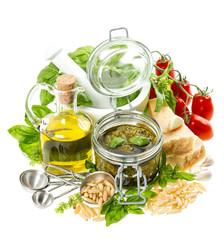 Pesto sauce ingredients. Olive oil, basil, parmesan