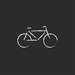Bicycle icon drawn in chalk.