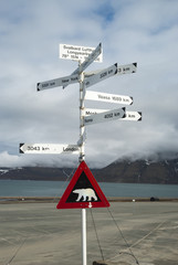 Road sign with polar bear and distances to the cities
