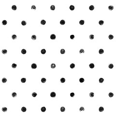 Black and white  Polka Dot Seamless Pattern Paint Stain Abstract