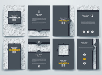Vector brochures with doodles backgrounds on invention theme